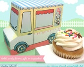 ice cream truck -  cupcake box, gift favor box, party centerpiece printable PDF kit - INSTANT download
