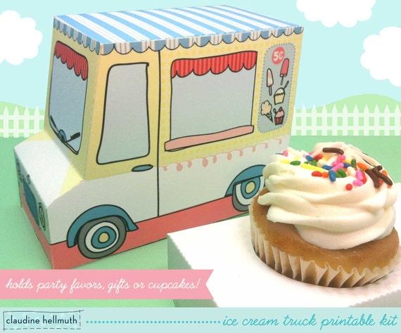 Ice Cream Truck Cupcake Box Gift Favor Box Party | Etsy
