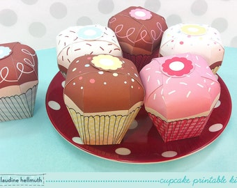 cupcake candy box kit -  gift boxes, party favor boxes, paper toy - printable PDF - INSTANT download