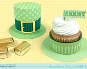 leprechaun hat -  cupcake box holds candy and treats, St. Patrick's Day favor box, party printable PDF kit - INSTANT download