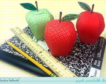 apple candy box kit - party favors, teacher gifts, back to school, Rosh Hashanah treat boxes - printable PDF - INSTANT downloa