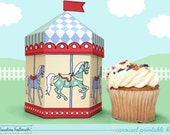 carousel -  cupcake box also holds cookies and party favors, table centerpiece printable PDF kit - INSTANT download