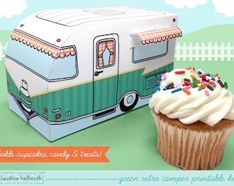 green retro camper -  cupcake box holds cookies and treats, gift and favor box, party centerpiece printable PDF kit - INSTANT download
