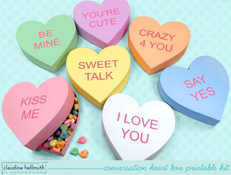 photograph relating to Printable Conversation Hearts called interaction center present containers - satisfies sweet, cookies, favors and snacks with customizable terms PDF package - Immediate down load