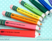 pencil candy box -  teacher appreciation, back to school, party favor gift boxes,  PDF kit - INSTANT download
