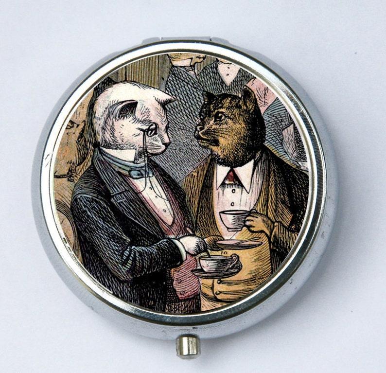 Cat PILL CASE pillbox pill holder drinking tea regal elegant image 0