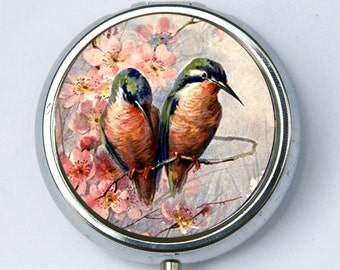Love Birds PILL CASE pillbox pill holder bird flowers blossoms