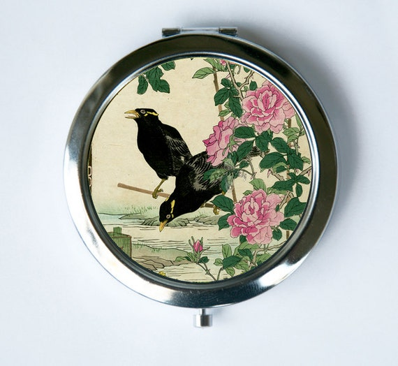 Japanese Crows Flowers Compact Mirror Pocket Mirror Tattoo Etsy