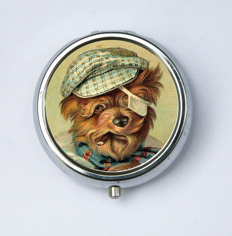Yorkie Dog smoking PILL case pill box pillbox holder DIY cute image 0