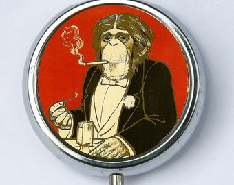 Monkey PILL CASE pillbox pill box holder Anthropomorphic Smoking elegant regal