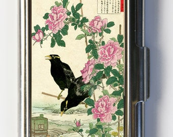 Japanese Crows Roses Business Card Holder Card Case