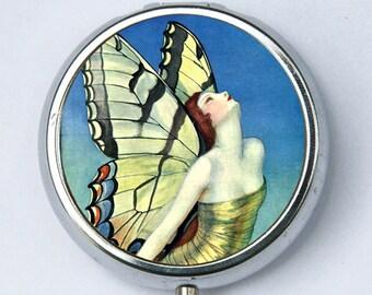 Art Deco Butterfly Women Pill Case pillbox holder box