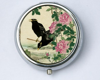Japanese Crows Roses  woodblock PILL CASE PILLBOX holder