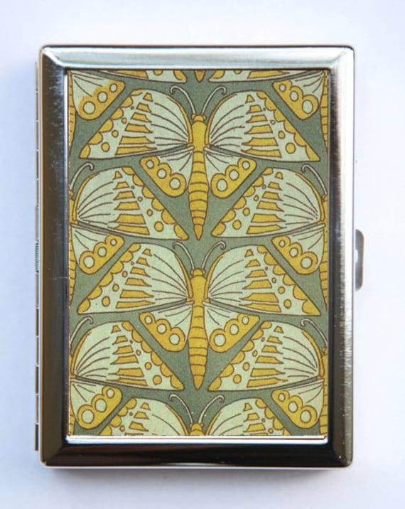 promo code bb4cb 118e6 Art Nouveau Butterflies Cigarette Case Wallet Business Card Holder