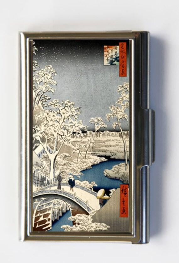 Japanischer Holzschnitt Schnee Inhaber Karte Visitenkartenetui