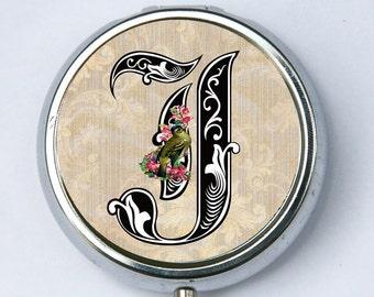 Monogram initial PILL CASE pillbox pill holder holder victorian