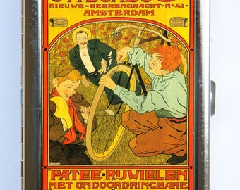 Art Nouveau Dutch Bicycle AD Cigarette Case Wallet Business Card Holder id case Bike riders bicycles