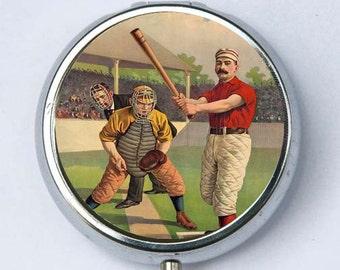 Baseball Batter Pill case pillbox box holder