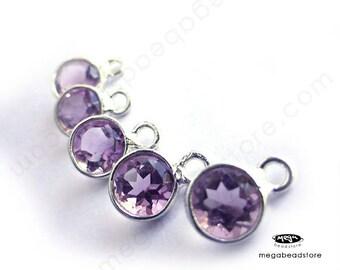 10 pcs 5mm Tiny Pink Amethyst Sterling Silver Bezel Charm Pendants F483S Natural Gemstone