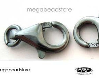0.925 Bali Oxidized sterling silver S clasp with swire 31mm 1 pc of