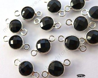 13mmX19mm round shape 2 pieces: grade AAA black onyx gemstone bezel connector vermeil frame size approx