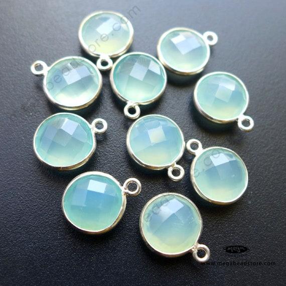 2 pcs 10mm Aqua Chalcedony Sterling Silver Bezel Stone Charm | Etsy