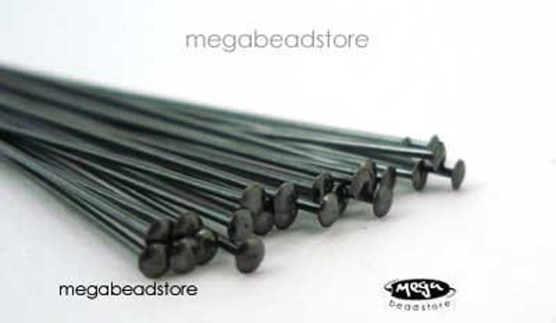 25 pcs Patina Dark Oxidized Sterling Silver Head Pins 24 or 22 gauge 2 inches F42Z
