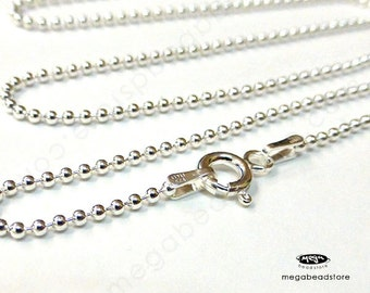"""22"""" Italian 1.5mm Ball Chain Sterling Silver Necklace FC10"""