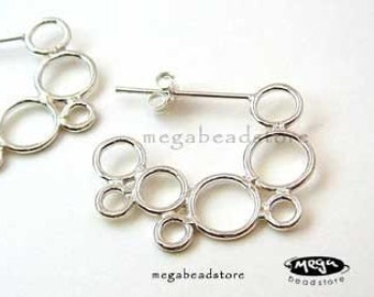 Mordern Simple Circles 925 Sterling Silver Earwires Posts w/ Backings F225