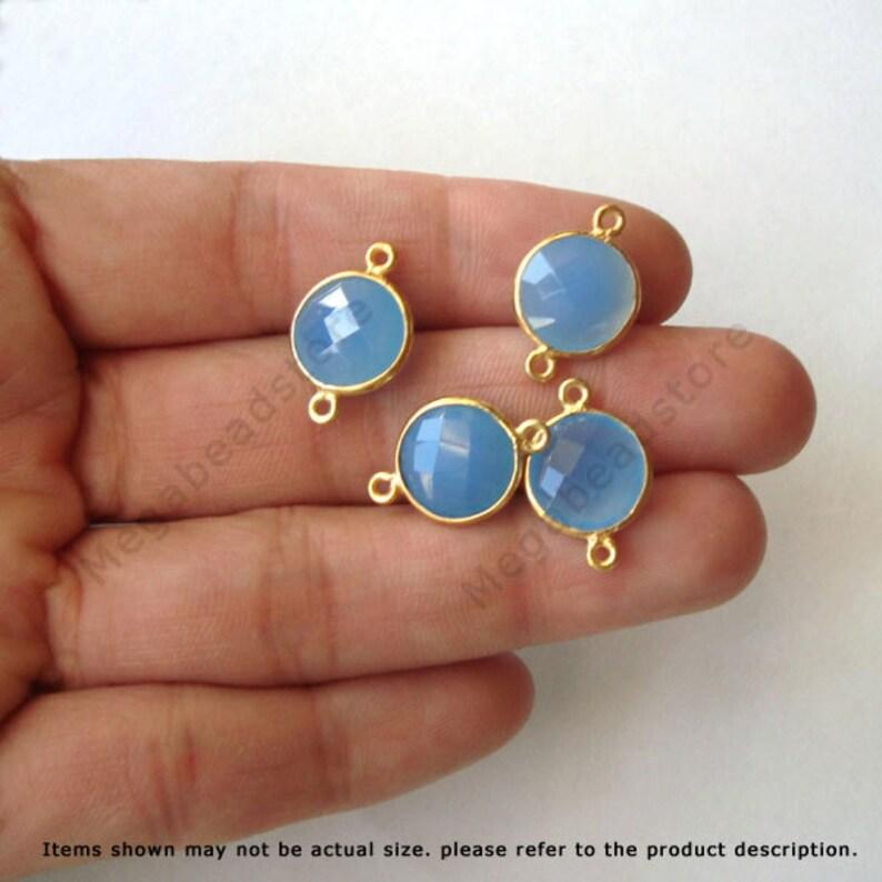 4 pcs 10mm Gold Bezel Gemstone Connector Blue Chalcedony 2 loops F391
