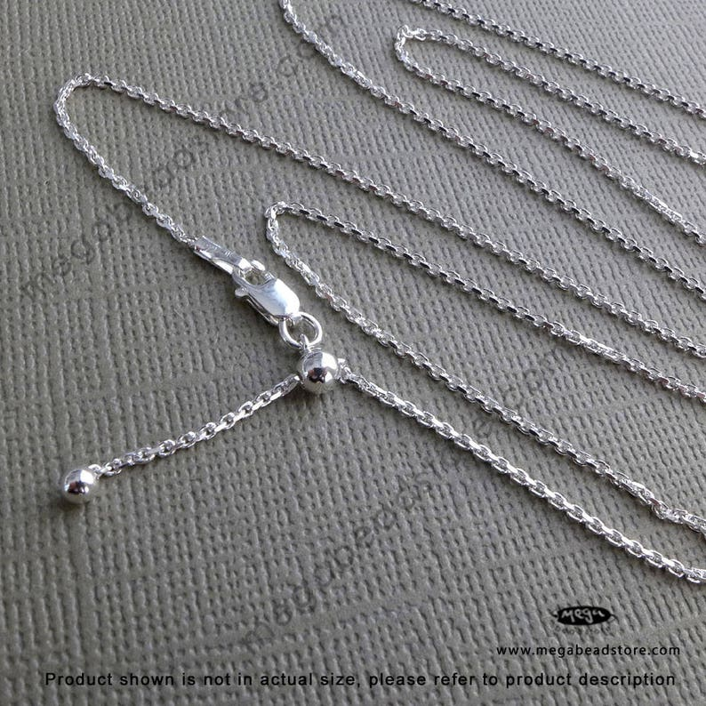 22 inch Adjustable Sturdy Thick 925 Sterling Silver Necklace Chain FC28