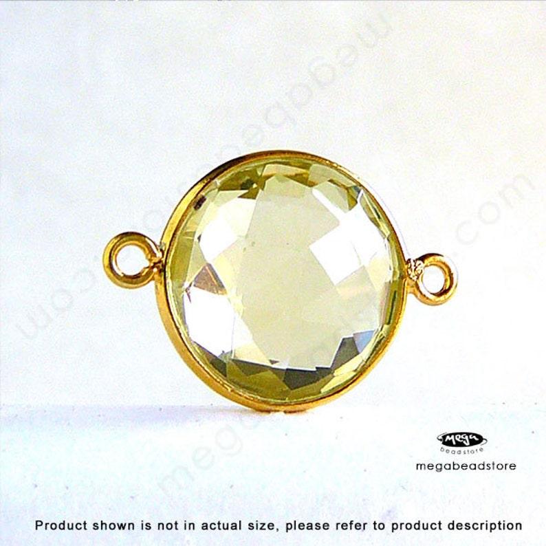 Large 14mm Yellow Lemon Quartz Gold Bezel Gemstone Connector Pendant F391