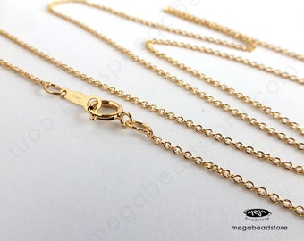 """1.1mm Cable Chain 16"""" 18"""" 20"""" Finished Necklace 14K Gold Filled Markedd 1/20 14K- FC24"""