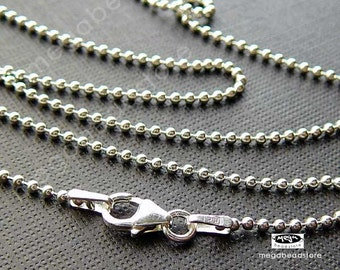 18 inch 1.5mm Ball Chain 925 Sterling Silver Bead Chain Necklace- FC5