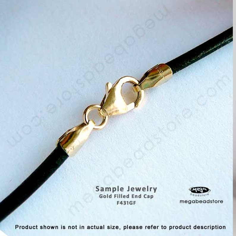 4 pcs 4mm Gold Filled End Cap for 4mm Leather Cord Tip Beads F431GF