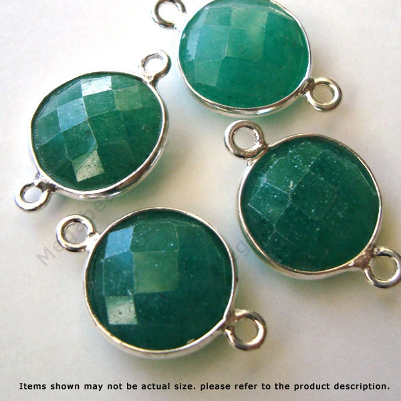 3 pcs 10mm Emerald Bezel Gemstone Wrapped Connector Sterling Silver F391S Green