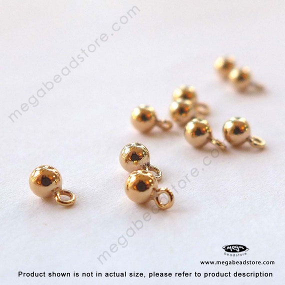 10 pcs 3mm plaine ronde boule gouttes gouttes gouttes 14K Gold Filled charmes F01GF be06e5