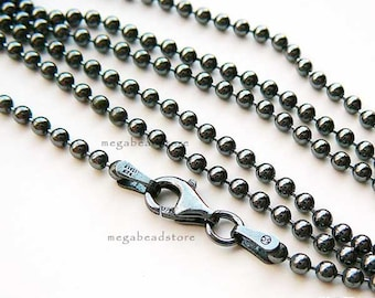 "22"" Dark Oxidized Sterling Silver Bead Chain 1.5mm Ball Necklace FC5Z"