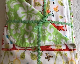 Newborn  Baby Gift Set - Jungle Animals Receiving Blanket/Burp Cloths - Luscious Aloha Lime