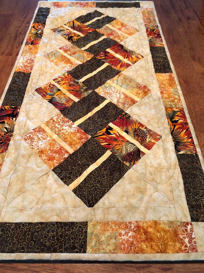 Quiltsy Handmade 18.5 inches x 36.5 inches Fall Quilted Table Runner