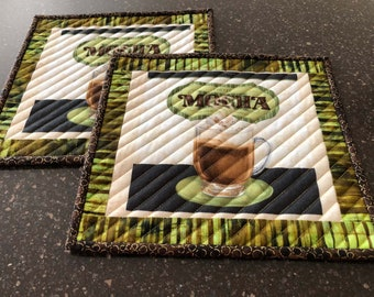 Mocha Coffee Quilted Mug Rugs - Set of 2, size Large