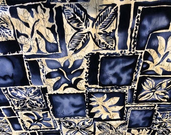 Indigo and Beige Leaves, Hoffman Fabric by the Yard