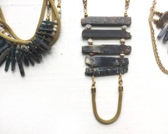 Kyanite + Opal//Horizontal stone necklace//Blue stone//Stone chakra/Broad Street Jewelry/Rite of Passage/Gift for woman//Wedding inspiration