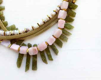 Vessonite//Peruvian opal +opal snake chain necklace//stone necklace//statement necklace//pink+green//OOAK//Handmade necklace//Wedding inspo