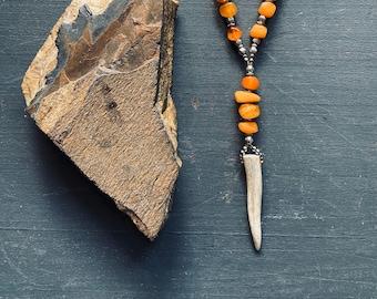 amber + antler necklace/Baltic amber/gemstone necklace/mixed metal necklace/antler pendant necklace/bone stone vintage/broad street jewelry