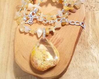 Liquid Gold Sunshine lodolite quartz teardrop pendant and gemstone chip one of a kind adjustable necklace
