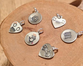 Set of six hand stamped handmade Jeep heart charms Willys Jeep round headlights and grille Jeep wave YJ square headlights tire tread gear