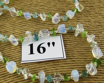 Blue Mist 18 inch gemstone chip choker with magnetic clasp