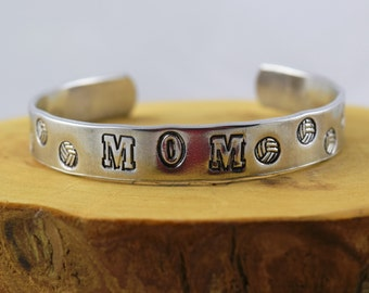 Volleyball Mom sports fan food grade aluminum hand stamped bracelet