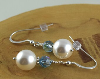 Pastels and Pearls aquamarine Swarovski crystal and pearl sterling silver french hook earrings
